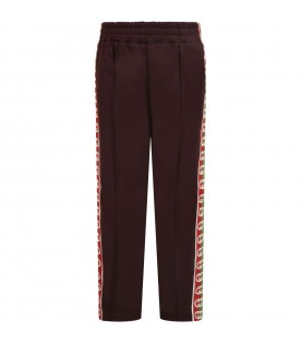 Brown sweatpants for kids with double GG