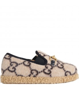 Beige moccasins for kids with double GG