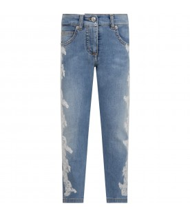 Light blue jeans for girl with flowers