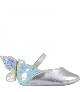 Grey flat shoes for girl with wings