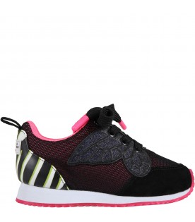 Black sneakers for girl with butterfly