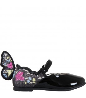 Black flat shoes for girl with wings