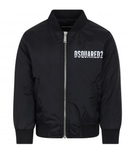Black jacket for boy with logo