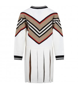 Ivory dress for girl with iconic stripes