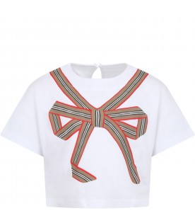 White T-shirt for girl with bow