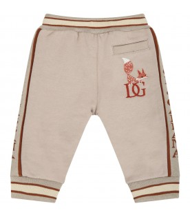 Beige sweatpant for babykids with fox