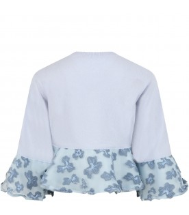 Light blue cardigan for girl with flowers