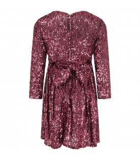 Fuchsia dress for girl with bow