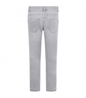 Grey jeans for girl with rhinestones