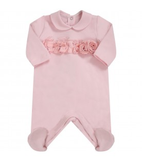 Pink babygrow for babygirl with logo